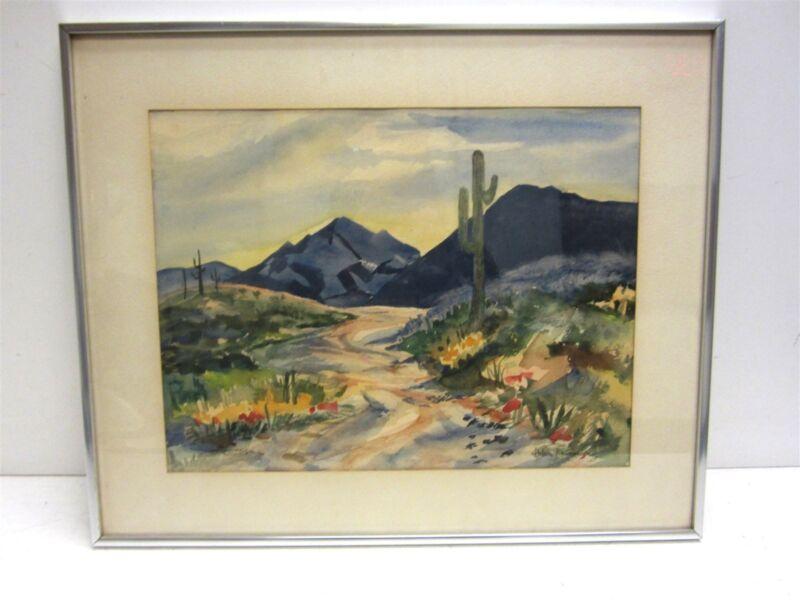 """Helen Rasmussen """"Desert Scene"""" Original Framed Watercolor Landscape"""