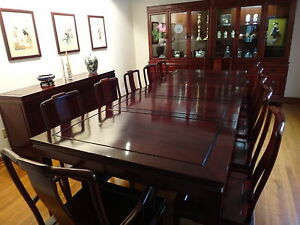 Solid Rosewood Asian Oriental Dining Room Set Table Chairs