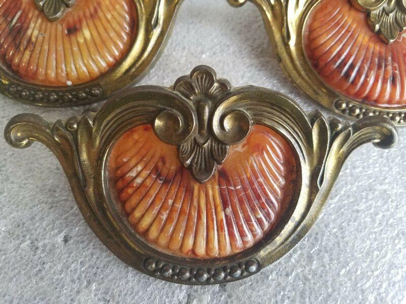 Set of 9 vintage Art Deco tortoiseshell celluloid Drawer Pull Handles  Bakelite
