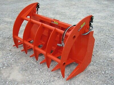 60 Brush Root Rake Clam Grapple Attachment Fits Skid Steer Tractor Quick Attach
