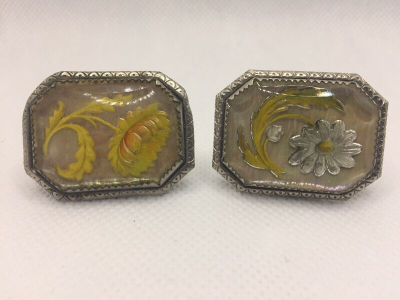 Antique Victorian Reverse Carved Glass Flower Pin Brooch 2 Piece Lot