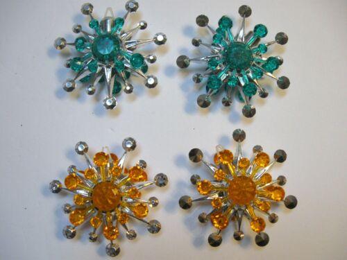 4 Sputnik Plastic Snowflake Starburst Christmas Ornaments RARE