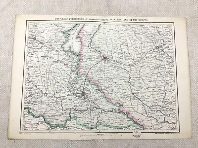 Antique Map of Italy Lombardo Venetia Mincio Line Old Hand Coloured 19th Century