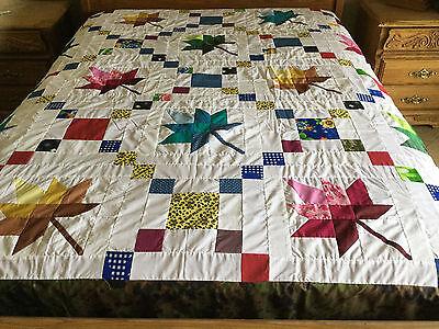 Queen size machine pieced patchwork quilt top #YP109