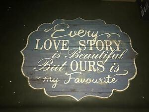 Every love story sign - vintage wedding decorations Thornton Maitland Area Preview