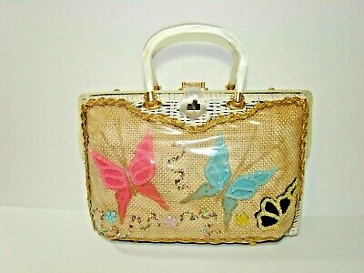 1950s Handbags, Purses, and Evening Bag Styles Vtg 1950s 60s TROPICAL MIAMI Wicker Lucite Beaded Butterfly Bag Purse  $75.00 AT vintagedancer.com