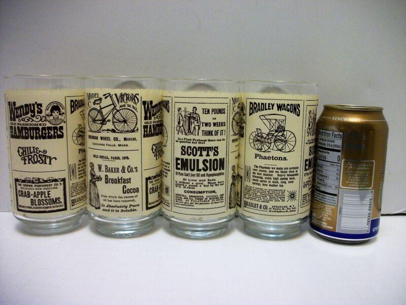 4 Vtg Wendys Hamburger Glass Tumbler Drinking Glasses 16 oz Newsprint Ads