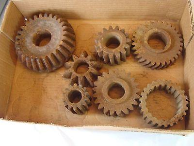 Lot of 7 Primitive Vintage Cast Iron Gears Rusty Machine Age Steampunk Wall Art