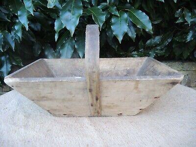 Vintage French  Wooden Trug  Garden Basket  (1114)
