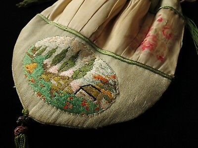 Antique c1920 French Purse Drawstring Embroidery Tassels Watered Silk ROSETTES