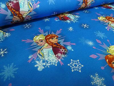 Stoff Baumwoll Jersey Eiskönigin Frozen Anna Elsa blau Kinderstoff Kleiderstoff