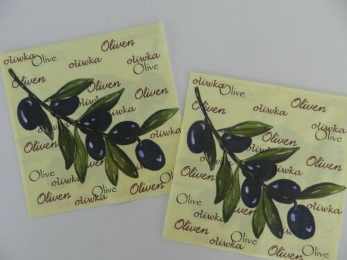 2 (Two) Single Lunch Size 3 Ply Paper Napkins for Decoupage Craft Olives