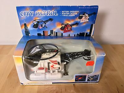 Vintage CITY PATROL Air Chopper HELICOPTER - Light Up 80s New Ray Toys 1988 HK - New Ray Helicopter