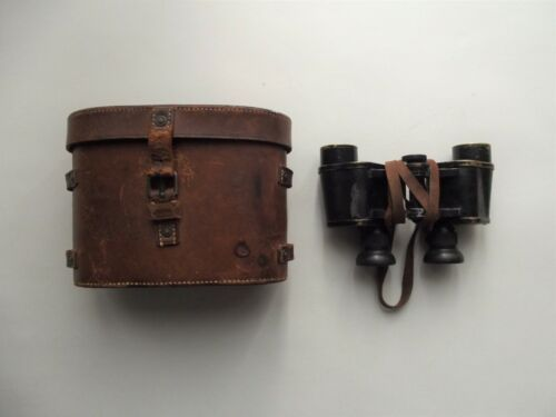 WW1 OFFICERS BINOCULARS & LEATHER CASE DATED 1915