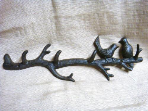 2 BIRDS on a BRANCH Cast Iron Wall Hooks