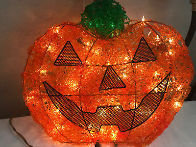 Halloween Holiday Rubber Cute Happy Pumpkin Light Up Lighted Plug-In Decor