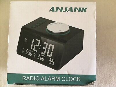 ANJANK  Alarm Radio Clock Dual Alarms USB Ports Headphone Jack Temp Display