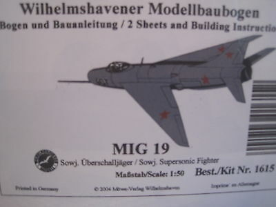 MIG 19 Fighter Flugzeug Wilhelmshavener Modellbaubogen Kartonmodel Bastelbogen