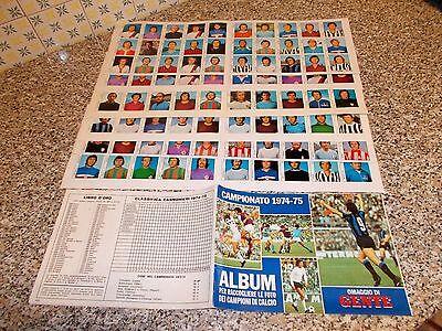 ALBUM CALCIATORI CAMPIONATO 1974 1975 GENTE VUOTO NUOVO+SET FOGLI 210 FIG SU 240