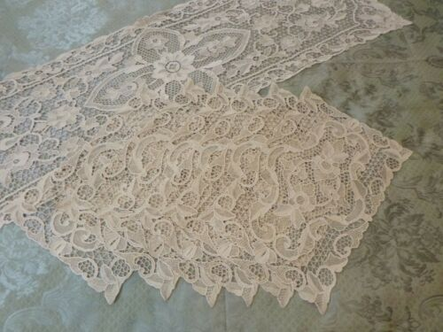 "Vintage Point de Venise Lace Runner 48"" and 12 Placemats15""  Set"