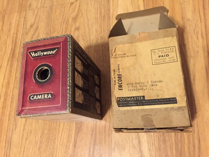 ANTIQUE ENCORE HOLLYWOOD BOX CAMERA / OLD VERSION OF DISPOSABLE CAMERA