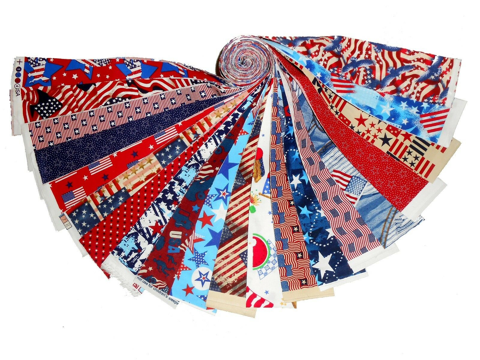 20 1.5  Quilting Fabric HONEY BUN Strips Patriotic MEDLEY Red ... : honey bun quilting strips - Adamdwight.com