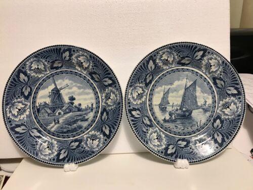 "PAIR -Vintage Maestricht Societe Blue & White 9"" Plates - Windmill & Ships"