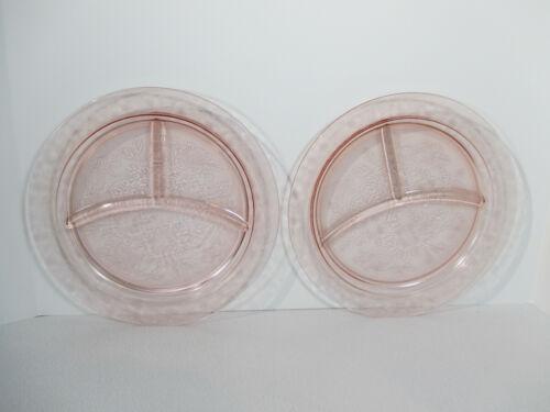 Grill Plates Saucer McBeth Evans Dogwood Blossom Wild Rose Pink Glass Vtg 2pcs
