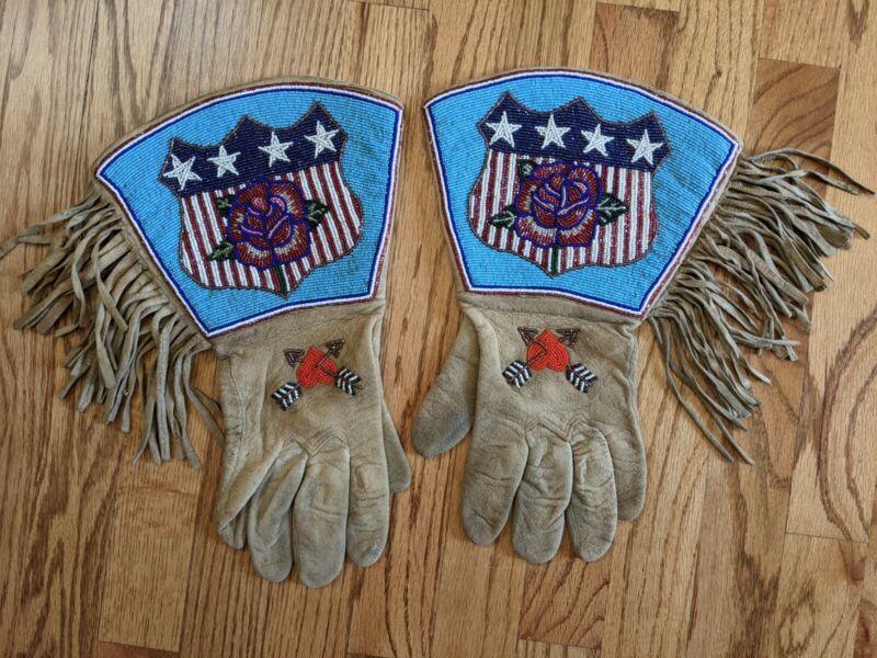 Native American Beaded Yakima Patriotic Gauntlet Gloves circa 1920