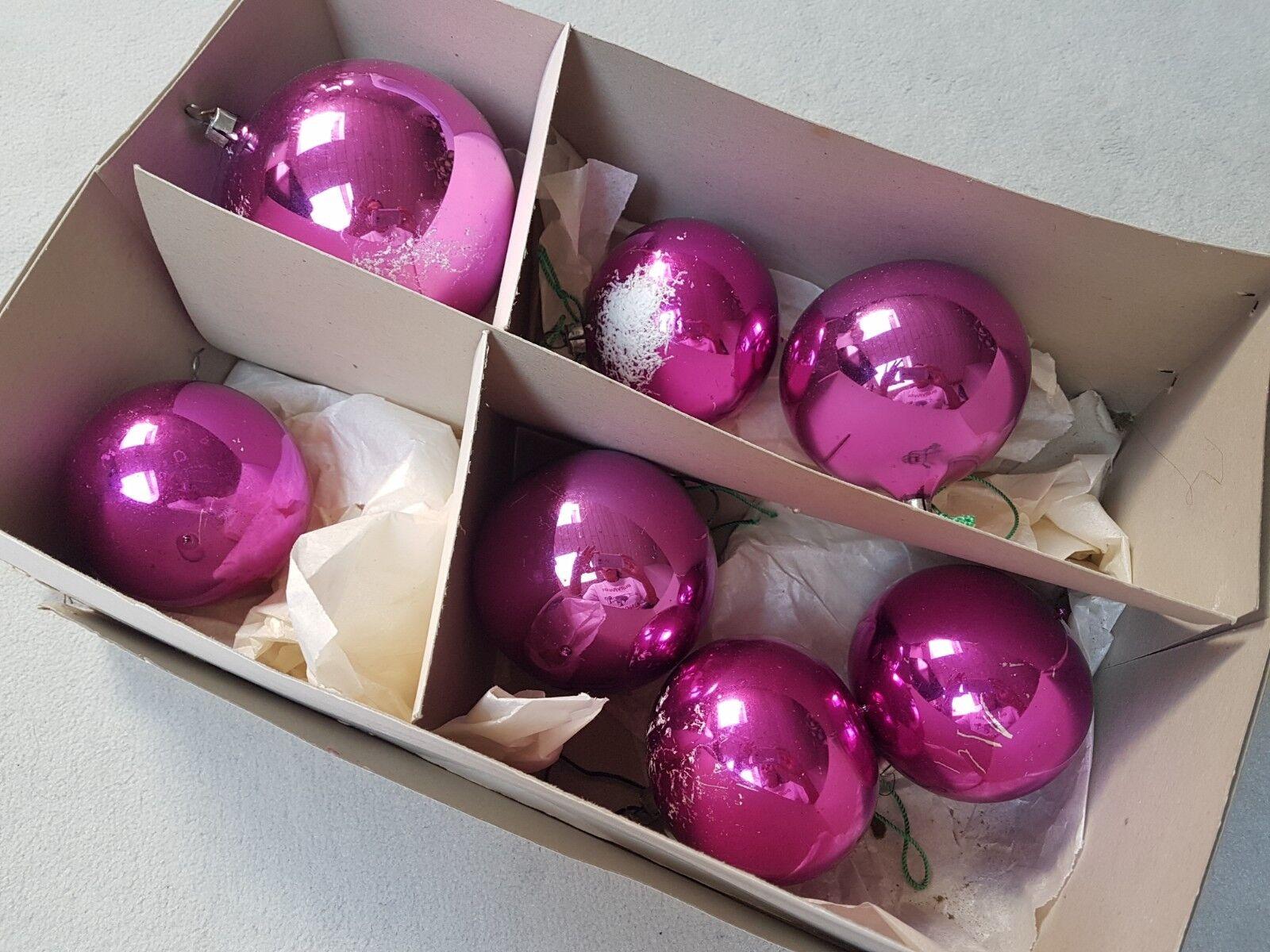 7 Christbaumkugeln Weihnachtskugeln Weihnachten - alt - 70 er Jahre - pink lila