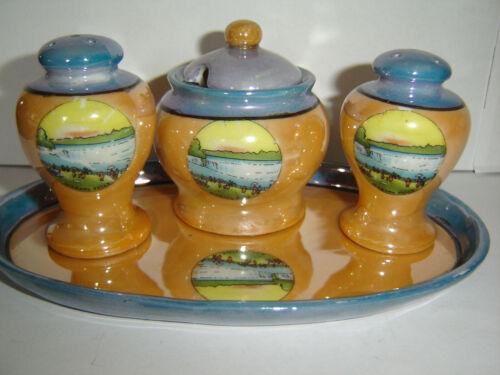 Vintage Niagara Falls Lustreware Salt Pepper Shakers Condiment Set Tray Souvenir