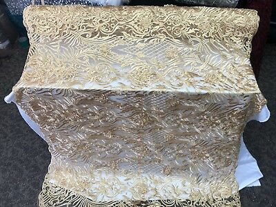 Gold- Design Beaded Mesh Lace Fabric Bridal Wedding Sold By Yard clothing ()