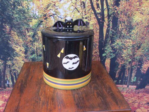 Halloween Ceramic Cookie Candy Jar with Bats & Candy Corn + Bat Finial Lid -Rare
