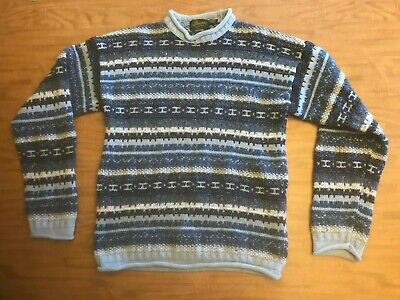 Vintage Donegal Irish Knit 1990s Striped Wool and Silk Sweater Men's Lrg Ireland