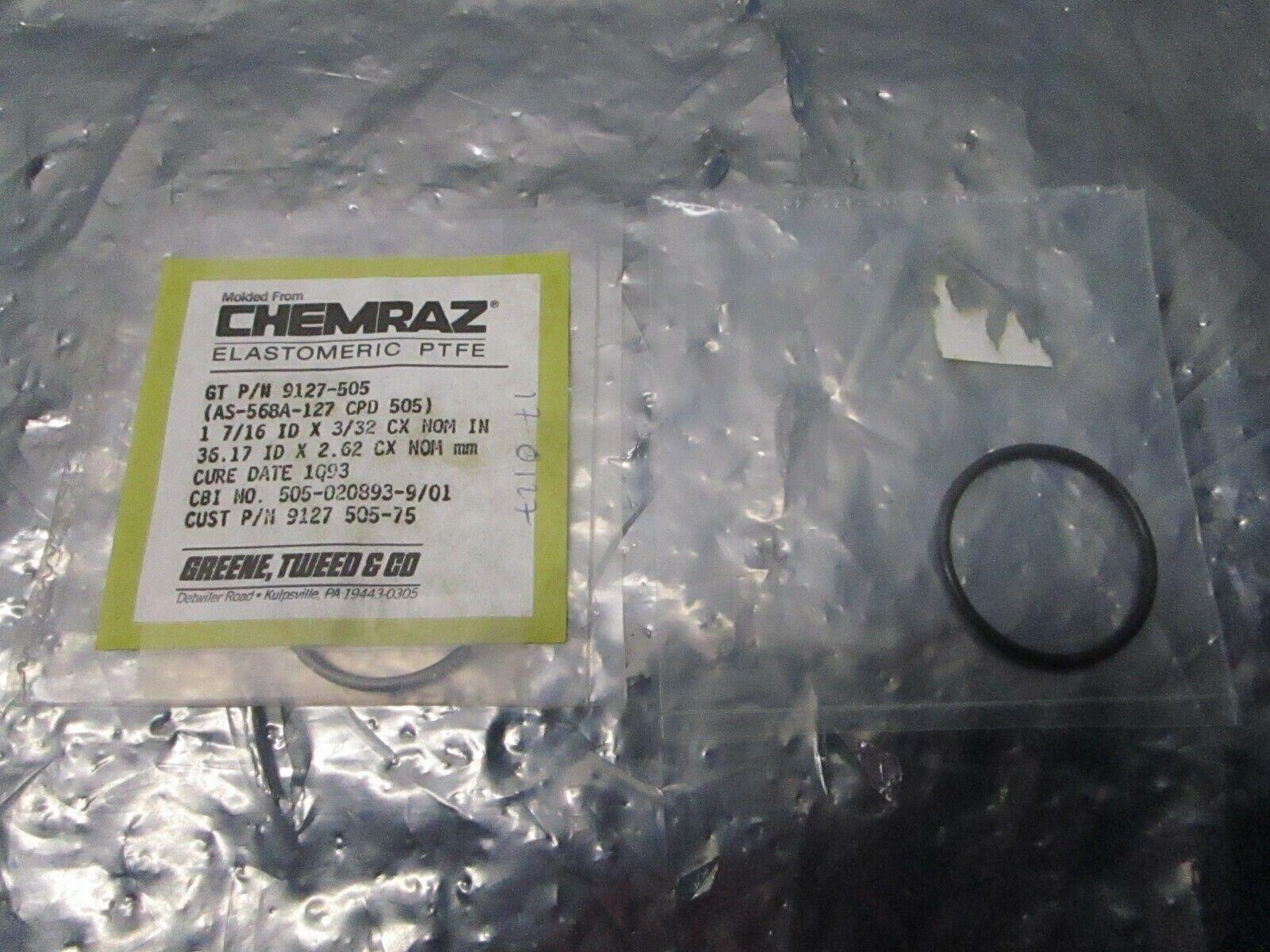 2 Greene Tweed AS-568A-127 Chemraz Oring, CPD 505, 9127-505, 101301