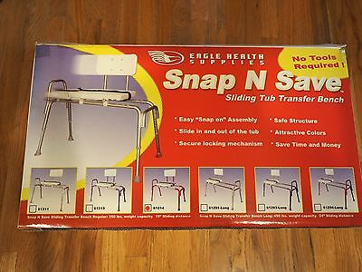 Snap N Save Sliding Tub Shower Chair Bath Transfer Bench 61214 Red New