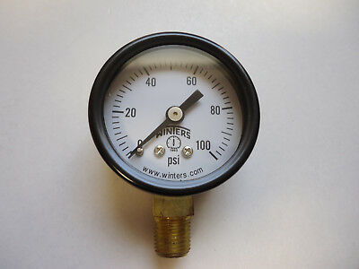 Winters 18 Npt Air Compressor Hydraulic Pressure Gauge 0-100 Psi Side Mount