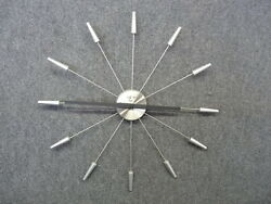 Vintage Style Starburst Clock Wall Mid Century Retro Wood/Metal Large 24 Silver