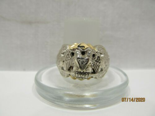 14 K Gold Masonic Ring with Diamond - 32nd Degree Double Headed Eagle