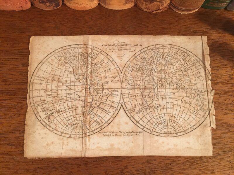Rare 1816 Original Antique Globe WORLD HEMISPHERES Universal Geography Atlas Map