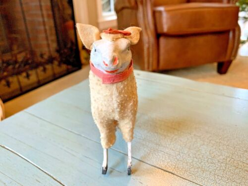 Putz Sheep Rare Fly Away Ears Stick Leg Wooly Germany German Antique Nativity