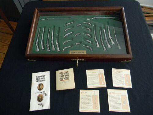 Franklin Mint Guns That Won The West Pewter Guns w/ Case & Key 25 Piece Set