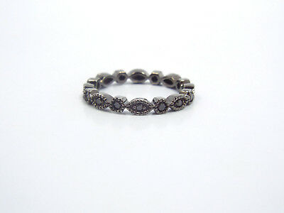 Antique Style 14K Gold Black Rhodium Black Diamond Eternity Stackable Band Ring