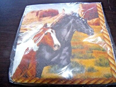 - Pack of 16 Beverage Napkins- Running Horses- Great for Birthday and 4-H Parties