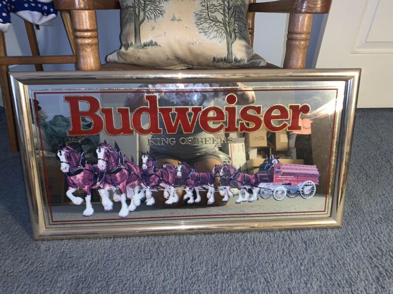 Vintage (1992) Budweiser King of Beers Clydesdale Bar Mirror