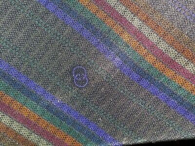 VINTAGE GUCCI 100% SILK NECK TIE - ITALY - BROWN, BLACK, RED and ORANGE STRIPES