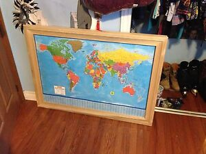 Framed World Map with cork