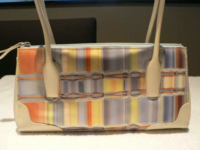 SONDRA ROBERTS Blue Green Rust Purse Small Shoulder Bag Off-White Trim Like New