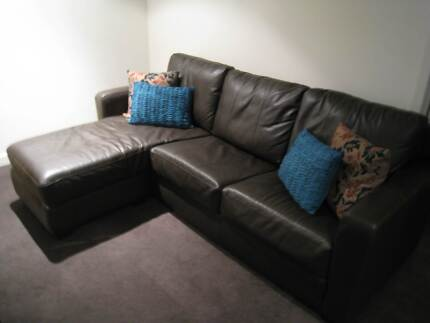 3-Seater Lounge Suite with Chaise - Brown Leather! Docklands Melbourne City Preview