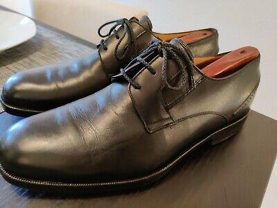 a.testoni men black leather dress shoes size 9 plain toe derby beautiful conditi